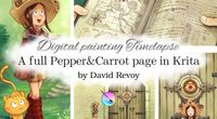 A full Pepper&Carrot page in Krita, Digital painting Timelapse by David Revoy by Shichimi archival channel